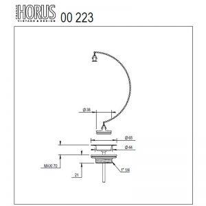 Måttuppgifter Horus avlopp tvättställ 00.223