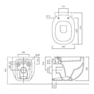Serie 500 vägghängd toalett 41351