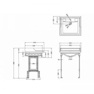 Burlington Classic tvättställ 65 cm på metallställning