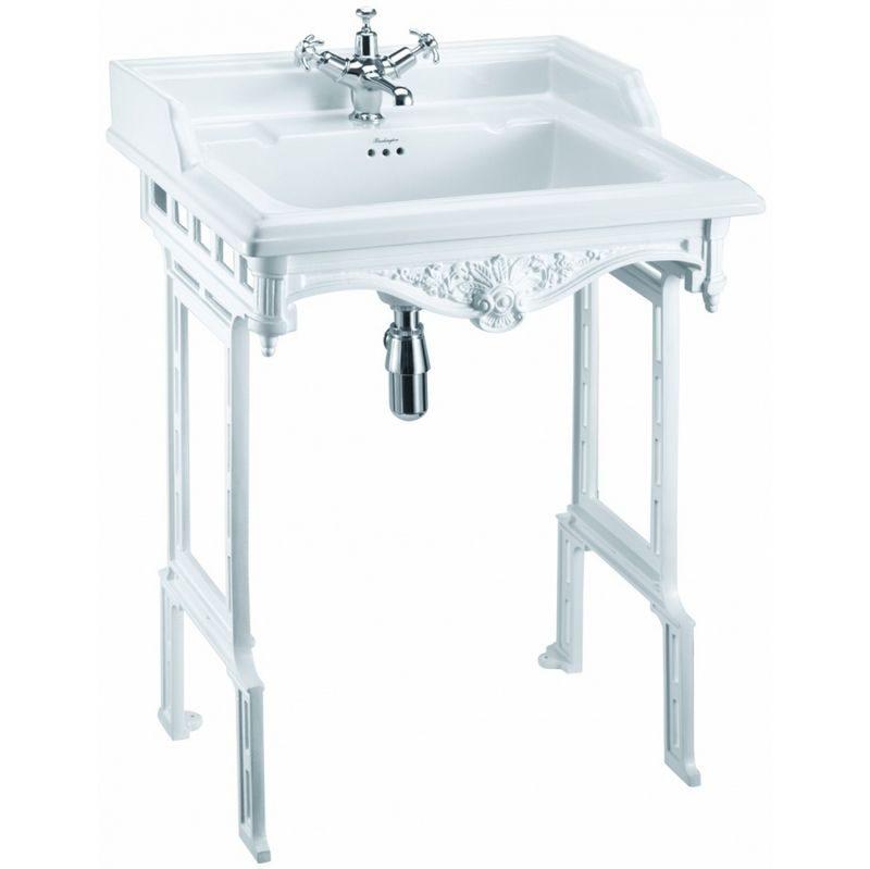 Burlington Classic tvättställ 65 cm på vit metallställning