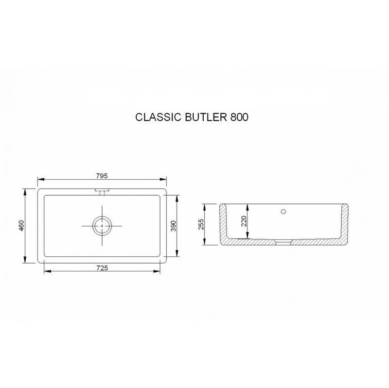 Måttuppgifter Classic Butler 800