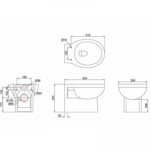 Burlington vägghängd toalett