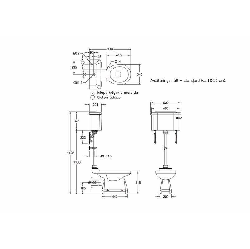 Måttuppgifter normal sitthöjd och bred cistern