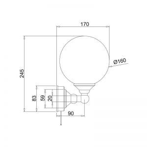 Måttuppgifter rund lampa BUR-T50CHR