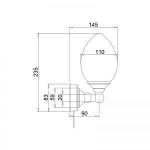 Måttuppgifter elliptisk lampa BUR-T52CHR