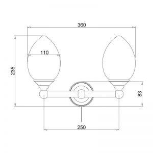 Måttuppgifter dubbel elliptisk lampa BUR-T53CHR