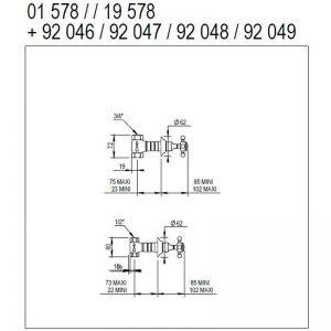 Måttuppgifter 01.578 med ventilinnerdel (OBS! Ej omkastarinnerdel)