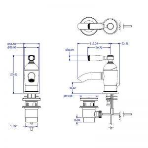 Fairfield tvättställsblandare V208