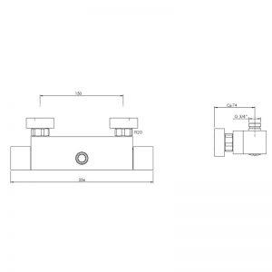 Kubik duschtermostat D561Q-150 ritning_web