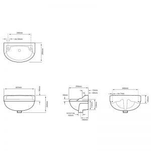 Måttuppgifter Dorchester minitvättställ, PDW08