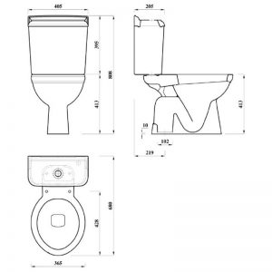 Dorchester golvstående toalett S-lås