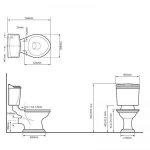 Dorchester golvstående toalett