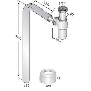 Måttuppgifter vattenlås med L-rör