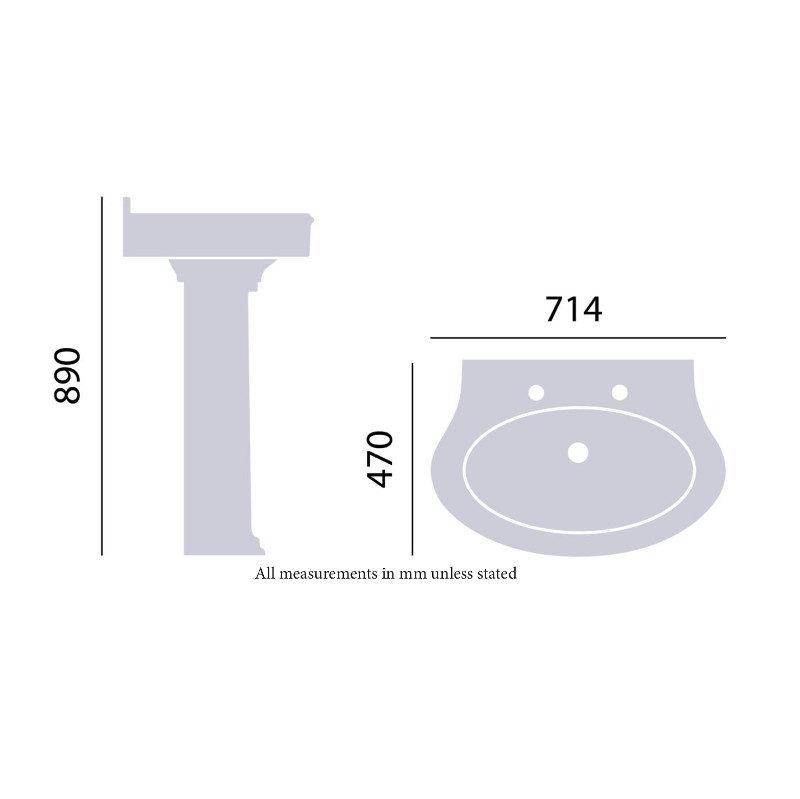 Claverton PCLW051 tvättställ ritning