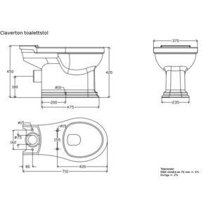 Claverton golvstående toalett