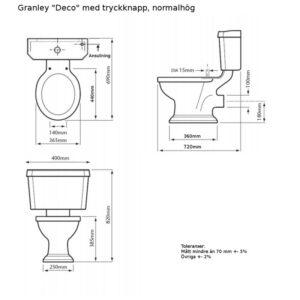 Granley golvstående toalett med tryckknapp