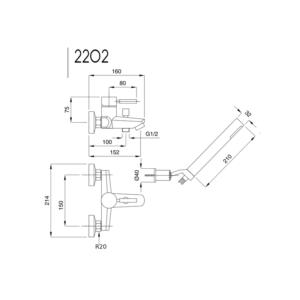 Kobuk badkarsblandare 2202