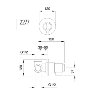 Kobuk inbyggnadstermostat 2277