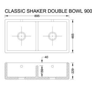 Classic Shaker 900 porslinsho