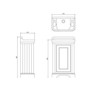 Badrumskommod med skåp 50×31 cm
