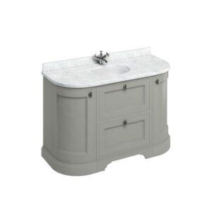 Rundad badrumskommod med lådor 134 cm