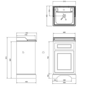 Badrumskommod med skåp 50×45 cm